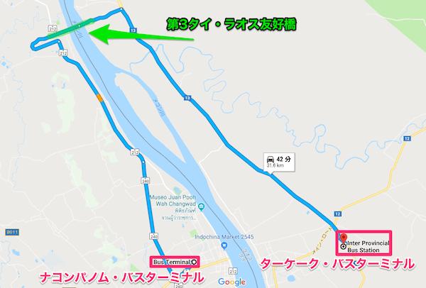 ナコンパノムバスターミナルからターケークバスターミナルへの地図