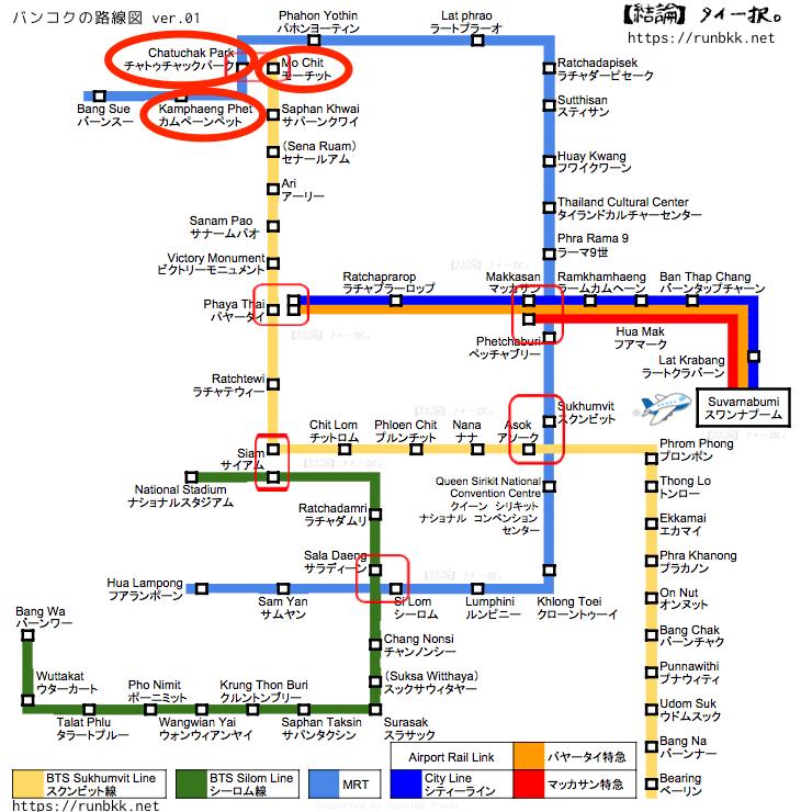 チャトゥチャック最寄りの3駅を記したバンコク路線図