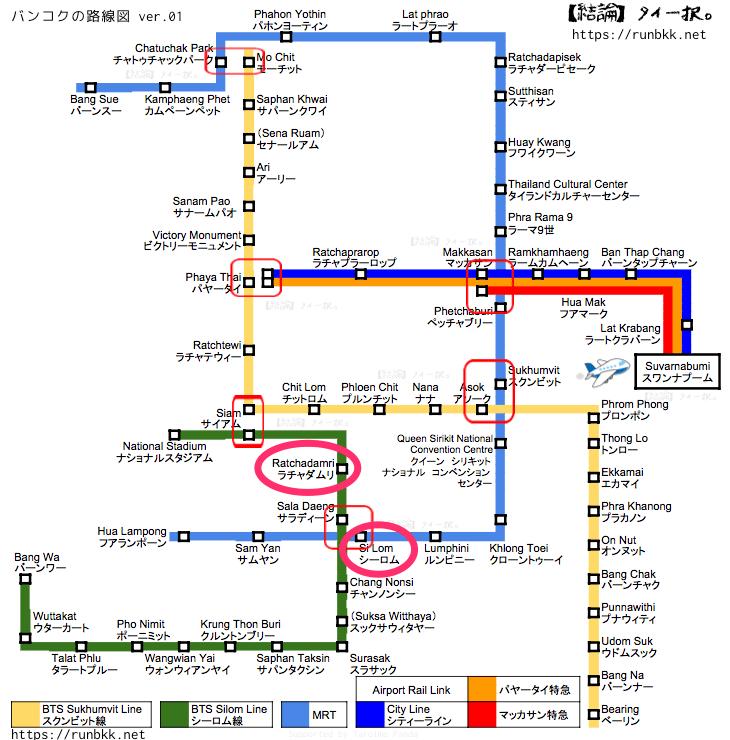 バンコク電車マップ ラチャダムリとシーロム