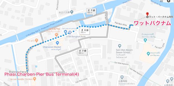 4番バスの終点からワットパクナムへの地図