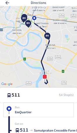 プロンポンからクロコダイルファームへのバス路線図
