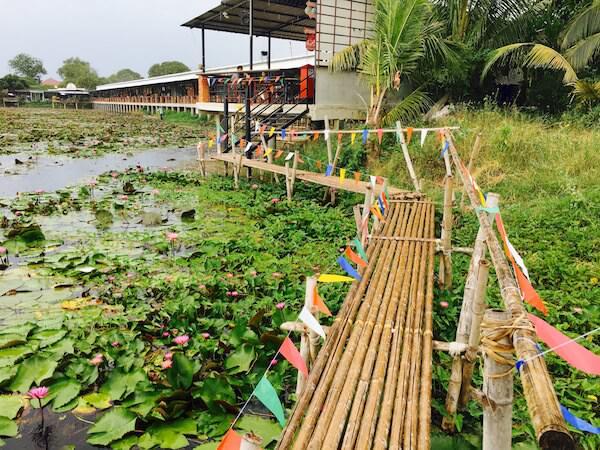 蓮池の周りに建つレストラン