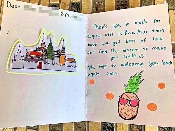 リヴァ アルン バンコク (Riva Arun Bangkok)で貰った手書きのメッセージカード