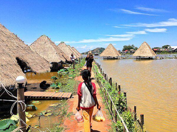 シェムリアップの蓮畑を歩くカンボジア人の子供