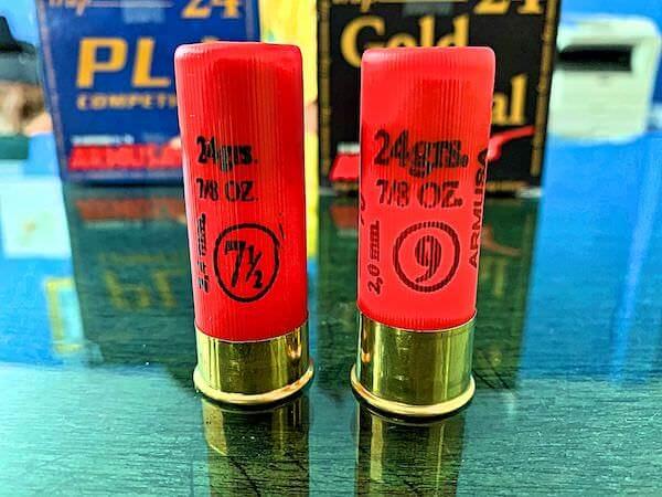 クレー射撃で使う散弾銃の弾 7.5号と9号