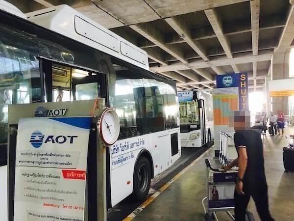 スワンナプームからドンムアンへ行くシャトルバス乗り場