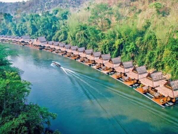 ザ フロートハウス リバークワイ リゾート(The Float House River Kwai Resort)の空撮写真