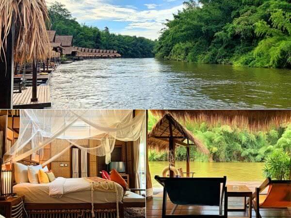 ザ フロートハウス リバークワイ リゾート(The Float House River Kwai Resort)のフローティングテラスとベッドルーム