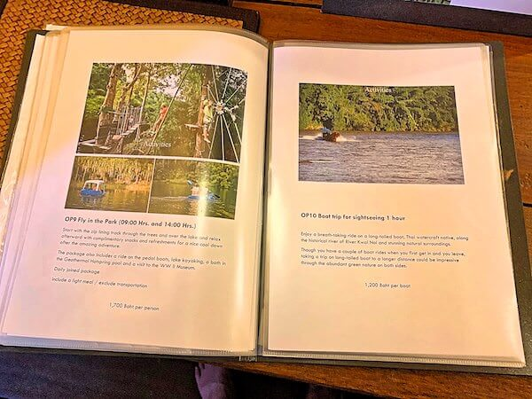 ザ フロートハウス リバークワイ リゾート(The Float House River Kwai Resort)のアクティビティメニュー冊子