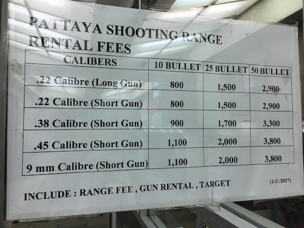 ティファニーズショー 射撃場の料金表