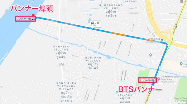 B TSバンナーからバンナー埠頭への地図