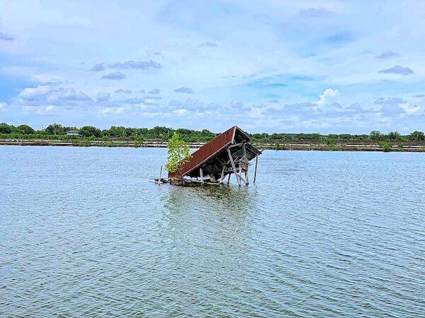 ワット・クン・サムット・チン(Wat Khun Samut Chin)周辺の沈没した家屋