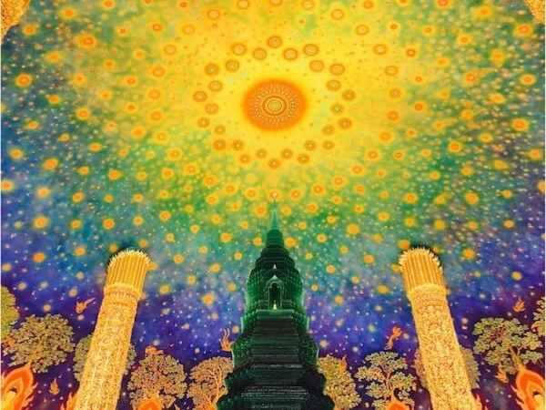 ワットパクナム大仏塔5階の天井画