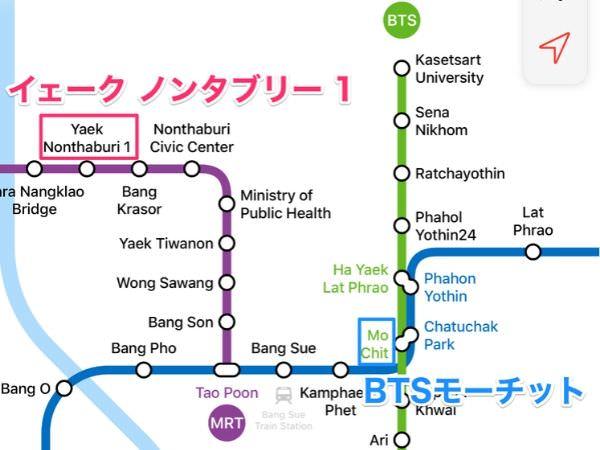 BTS・MRTの路線図(イェークノンタブリ1駅)